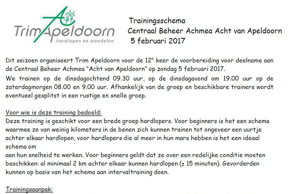 Loopschema Acht van Apeldoorn op de site!